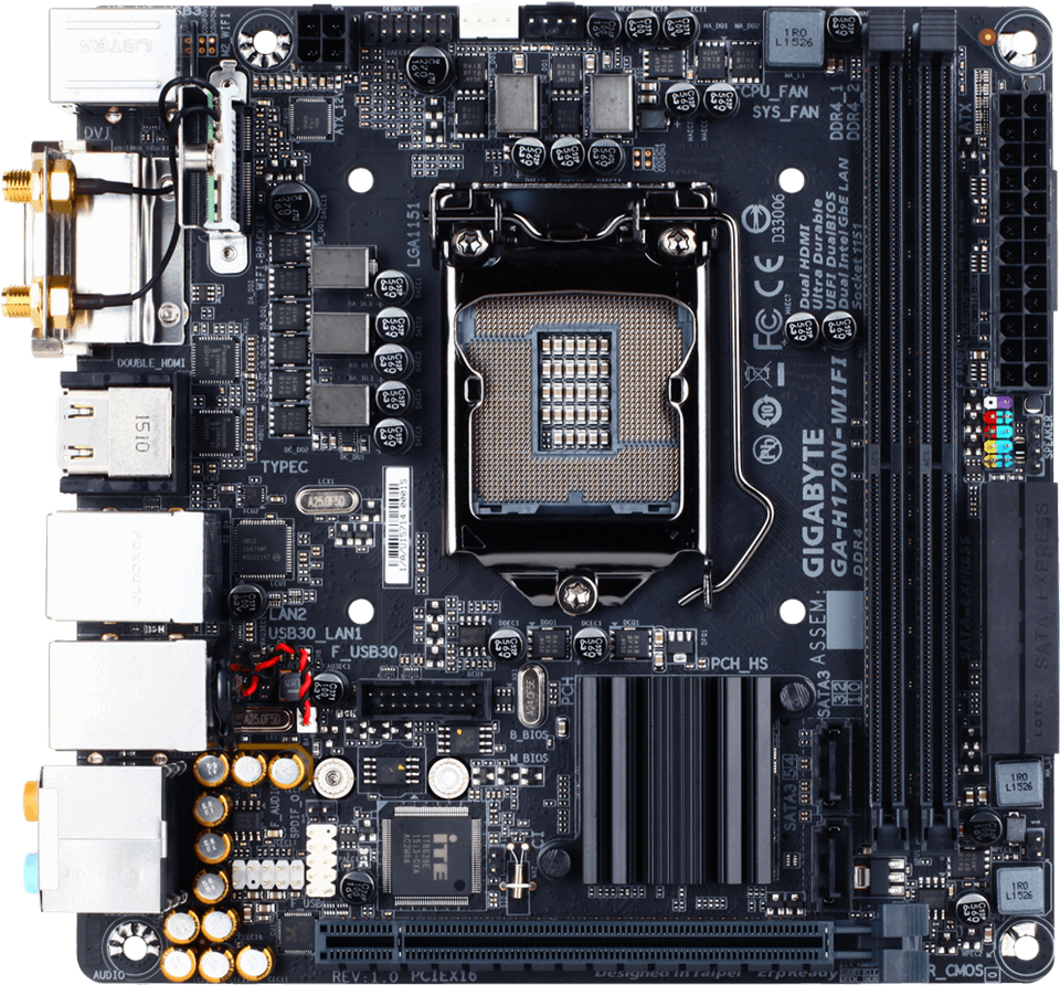 Gigabyte GA-H170N-WIFI Intel LAN 64x
