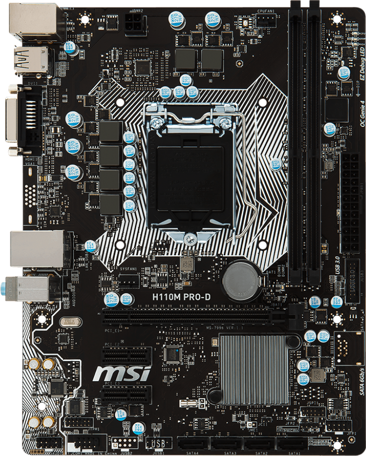 MSI H110M PRO-D - Motherboard Specifications On MotherboardDB